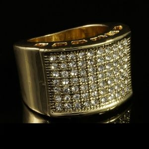 Other - Mens NEW 14k Gold Band Micropave Iced Out Ring